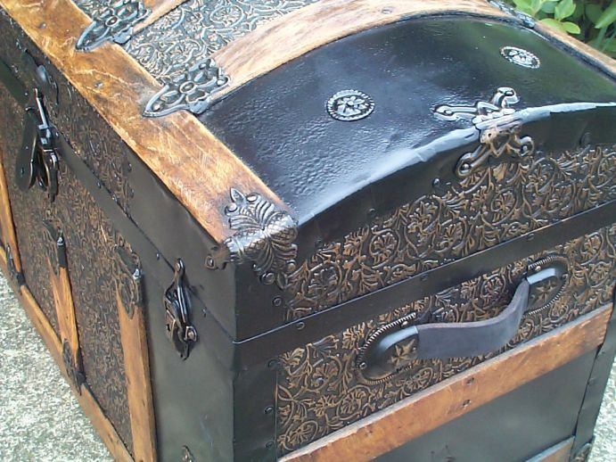 restored victorian all wood and metal dome top antique trunk for sale 755
