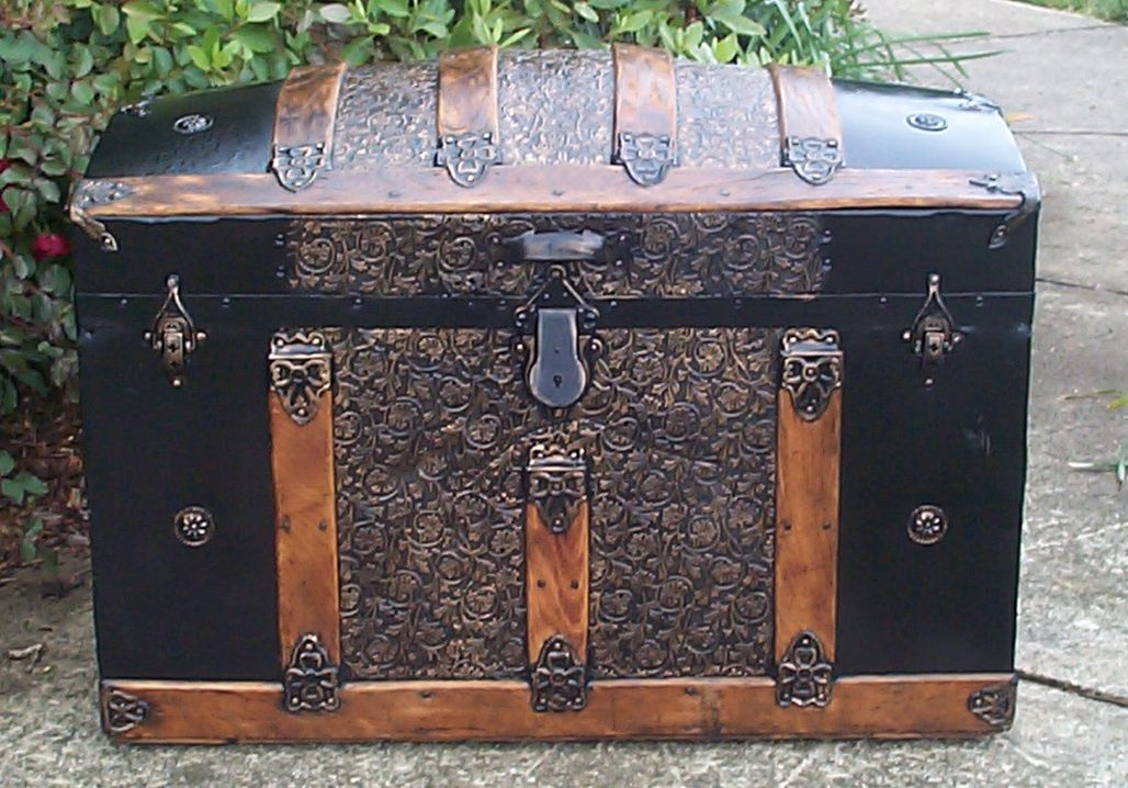 restored all wood and metal dome top antique trunk for sale 755