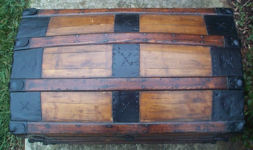 restored victorian all wood dome top antique trunks for sale 756