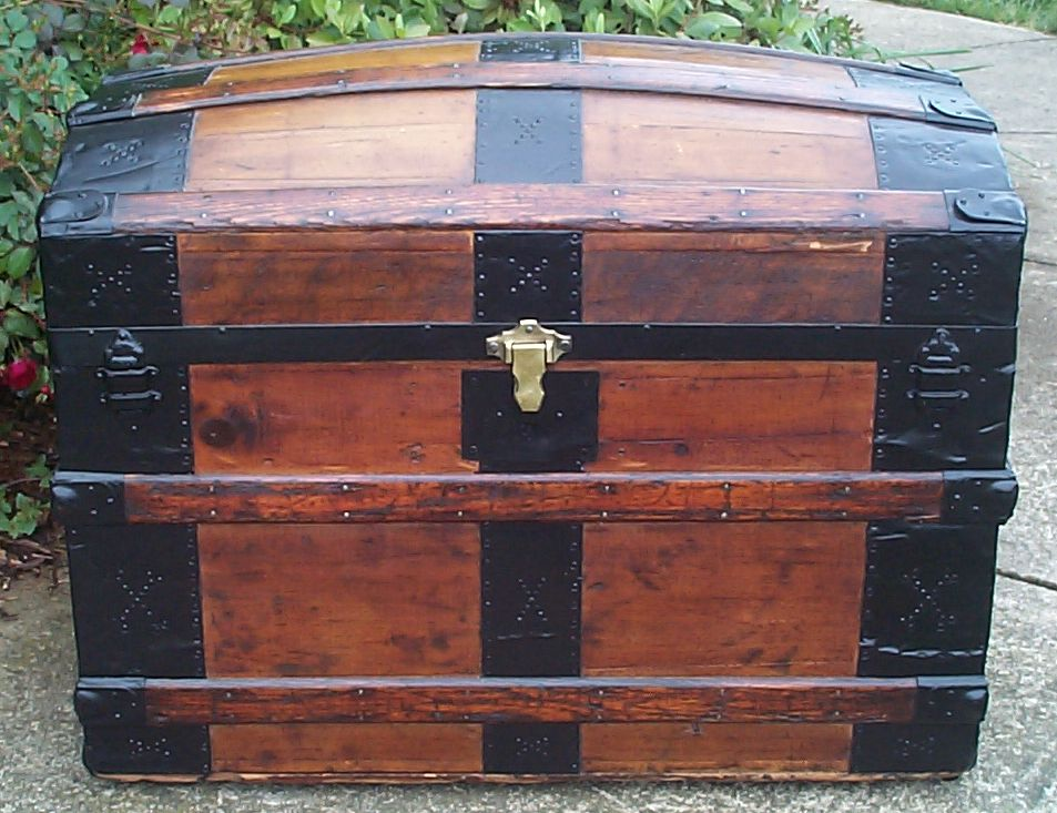 restored all wood dome top antique trunk for sale 756