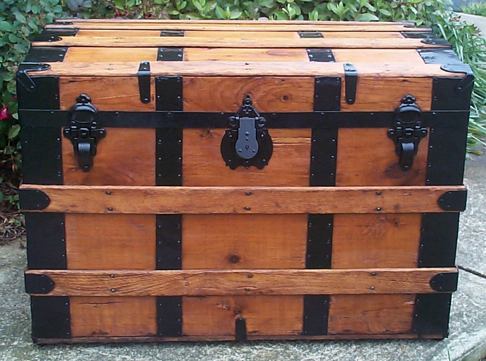 restored all wood roll top antique trunk for sale 757