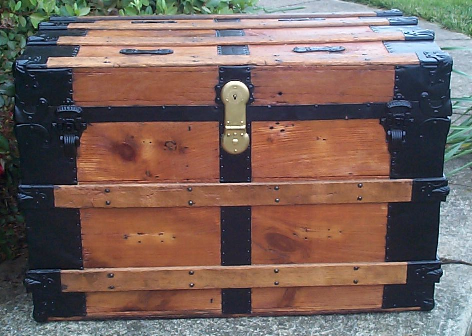 restored all wood flat top antique trunk for sale 758