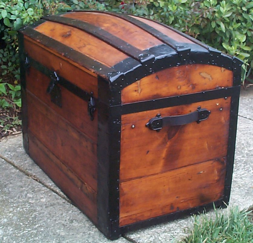 restored victorian all wood humpback dome top antique trunks for sale 759