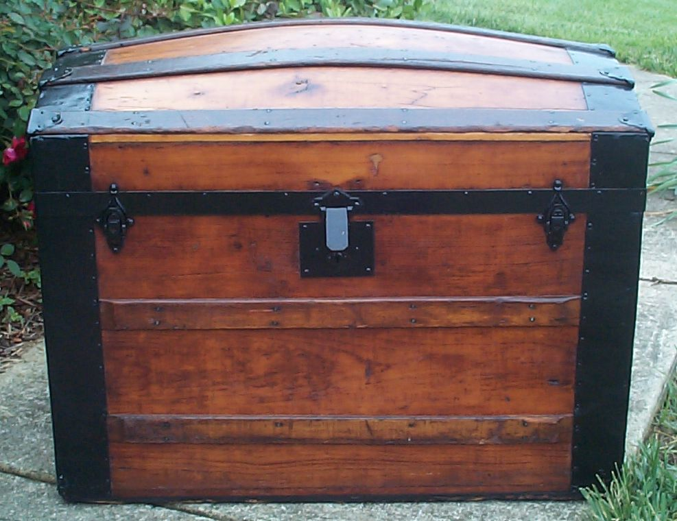 restored all wood dome top antique trunk for sale 759