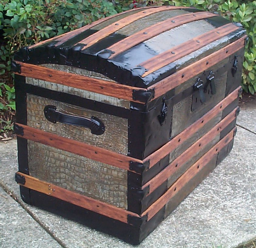 restored victorian all wood and metal humpback dome top antique trunks for sale 760