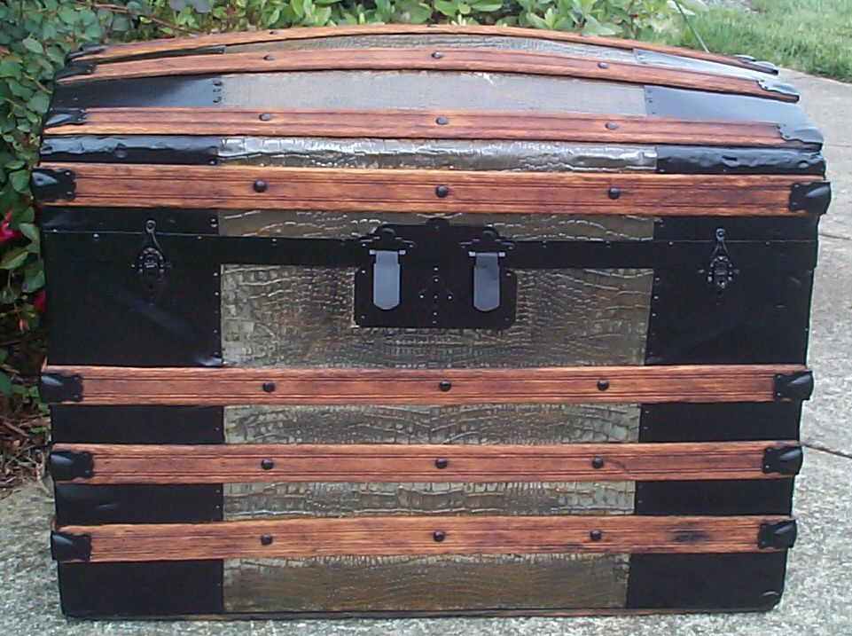 restored all wood and metal dome top antique trunk for sale 760