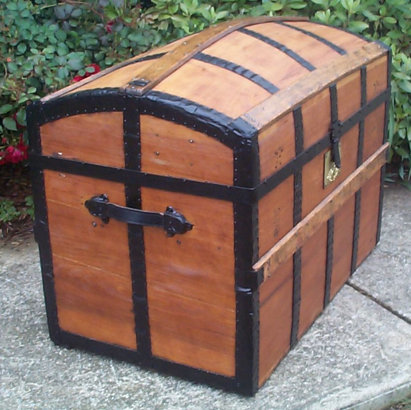 restored victorian all wood humpback dome top antique trunks for sale 761