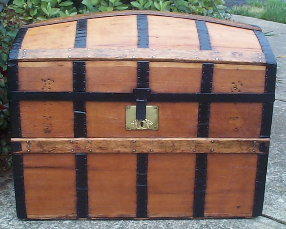 restored all wood dome top antique trunk for sale 761