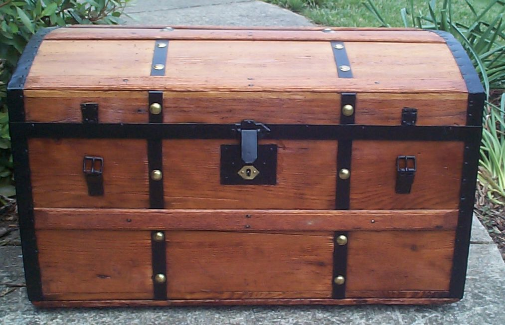 restored all wood dome top civil war era antique trunk for sale 762