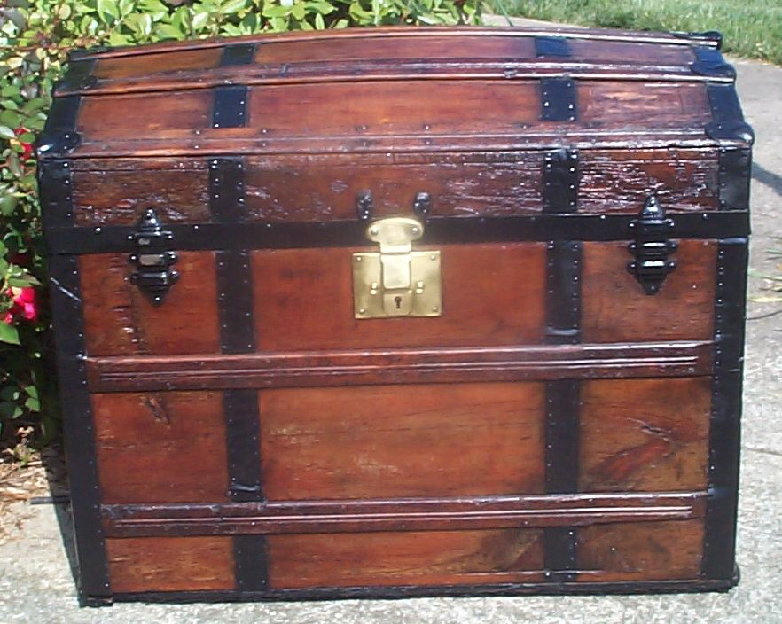 restored all wood dome top antique trunk for sale 764