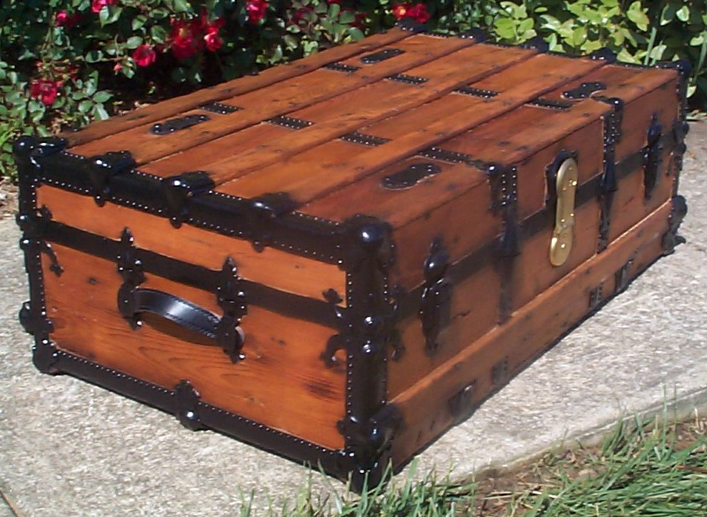restored victorian all wood low profile flat top antique trunk for sale 765