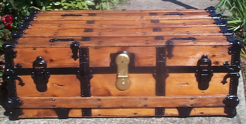 restored all wood low profile flat top antique trunk for sale 765