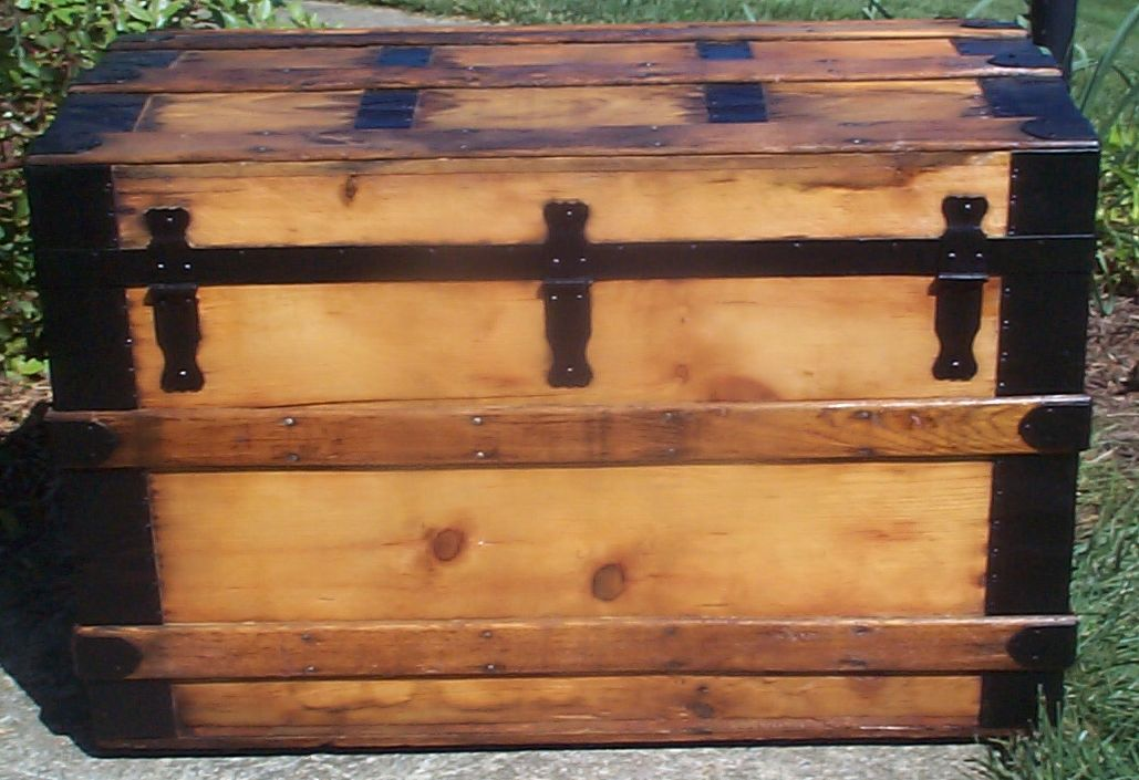 restored victorian all wood roll top antique trunk for sale 766