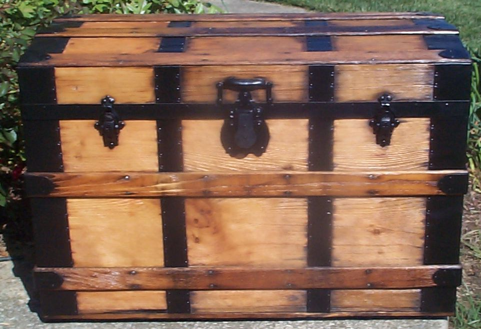 restored all wood roll top antique trunk for sale 766