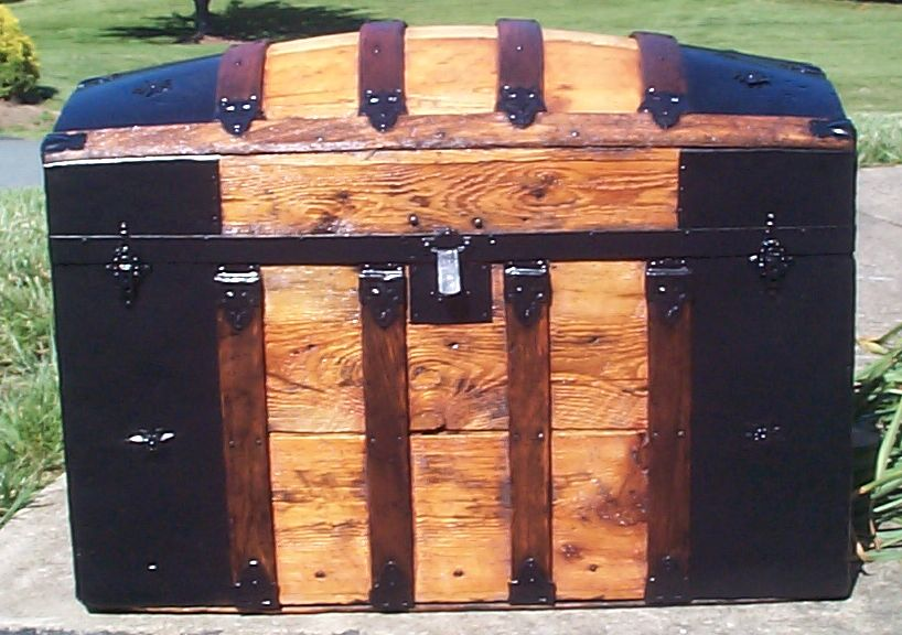 restored all wood dome top antique trunk for sale 767