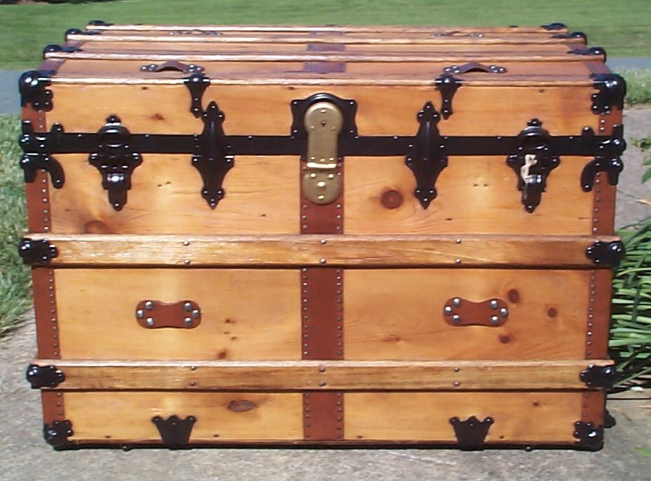 restored all wood flat top antique trunk for sale 768