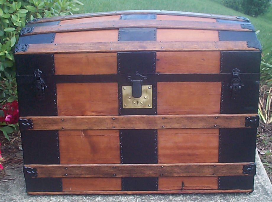 restored all wood Dome top antique trunk for sale 769