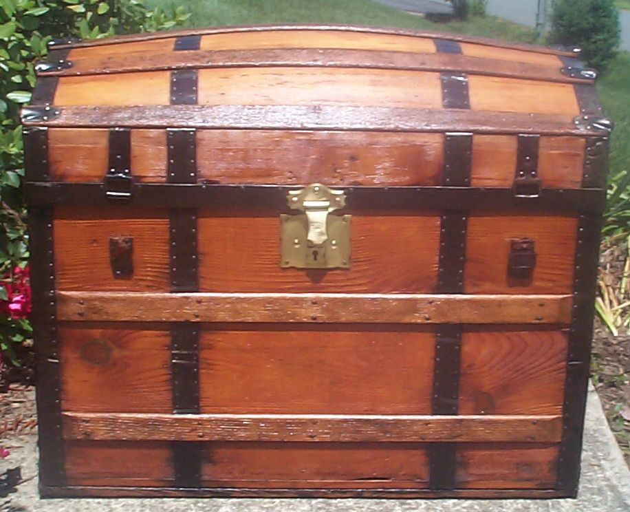 restored all wood Dome top antique trunk for sale 770