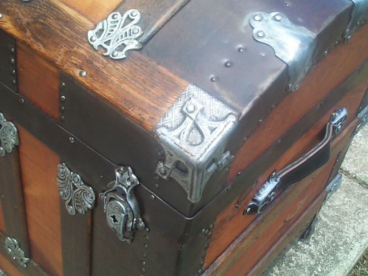 restored victorian all wood dome top antique trunk for sale 771