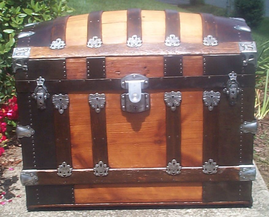 restored all wood Dome top antique trunk for sale 771