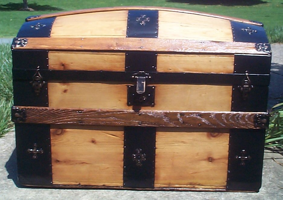 restored all wood dome top antique trunk for sale 774