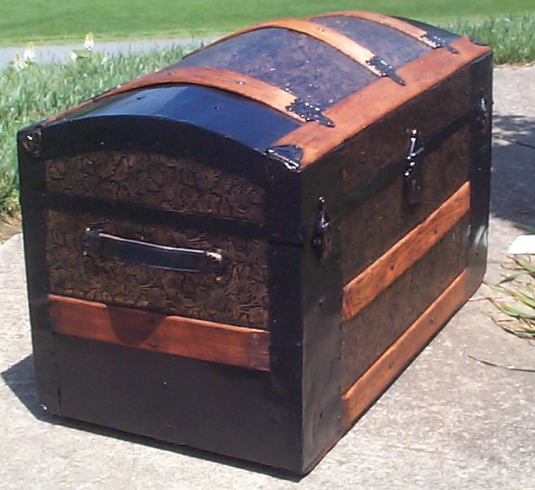 restored victorian all metal pressed tin dome top antique trunk for sale 775