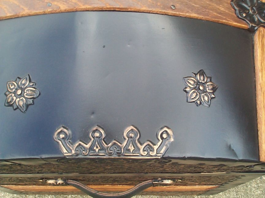 restored victorian all metal pressed tin dome top antique trunk for sale 776