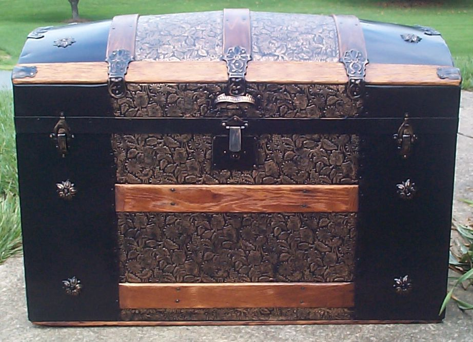 restored all metal dome top antique trunk for sale 776