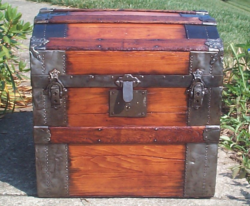 restored rare 1/2 size all wood dome top antique trunk for sale 778