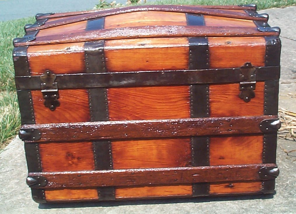restored wood dome top antique trunk for sale 779