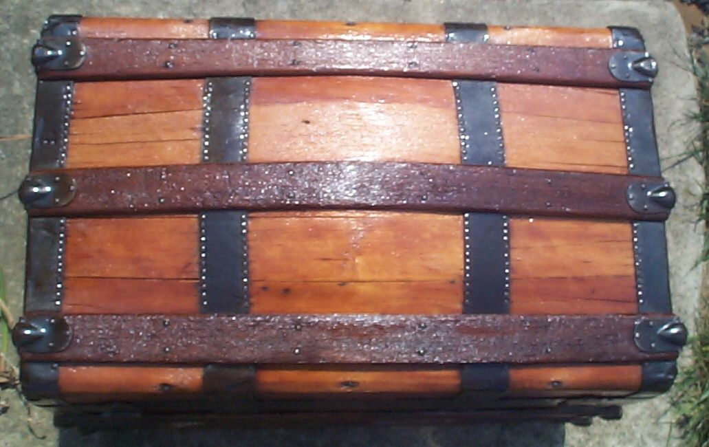 restored rare 1/2 size all wood dome top antique trunk for sale 779