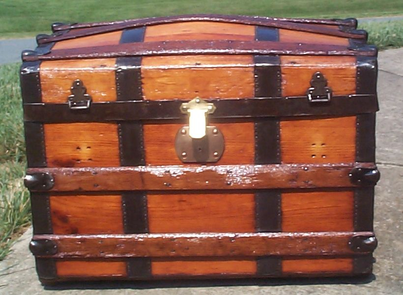 restored all wood dome top antique trunk for sale 779