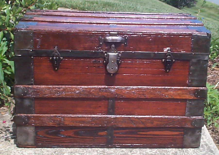 restored all wood flat top antique trunk for sale 770