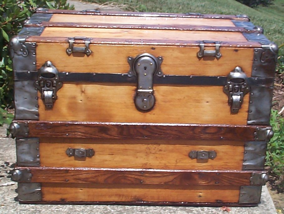 restored all wood flat top antique trunk for sale 781