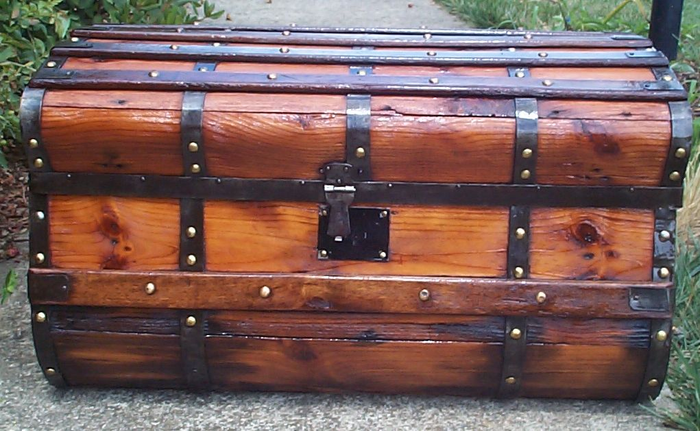 restored all wood civil war jenny lind antique trunk for sale 782
