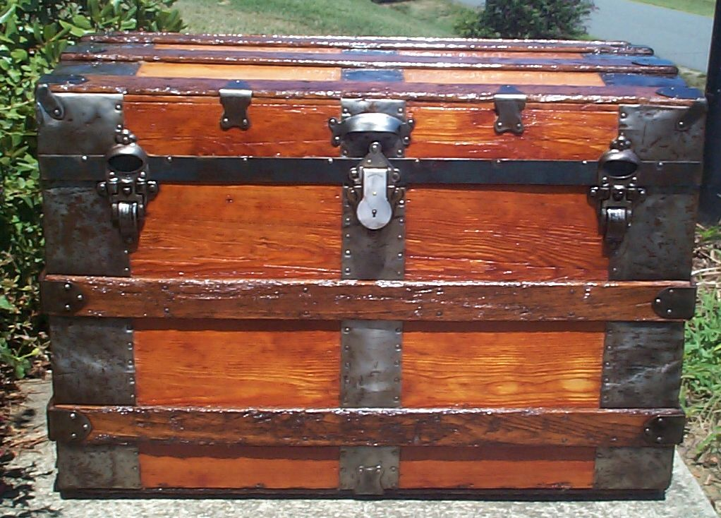 restored all wood roll top antique trunk for sale 783