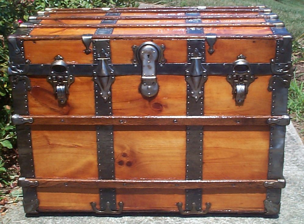restored all wood flat top antique trunk for sale 784