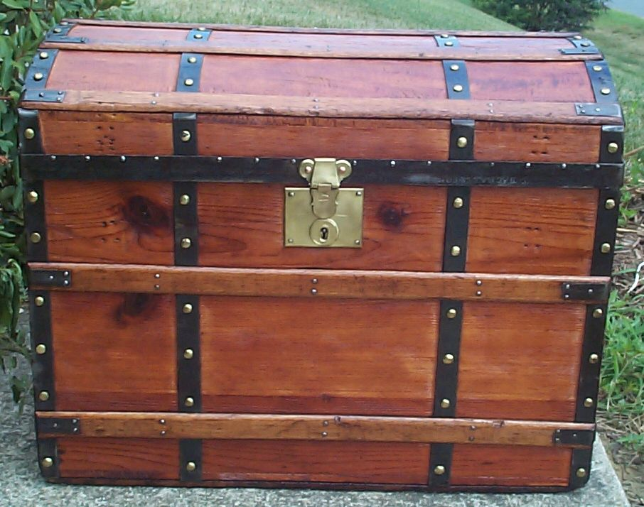 restored all wood dome top antique trunk for sale 785