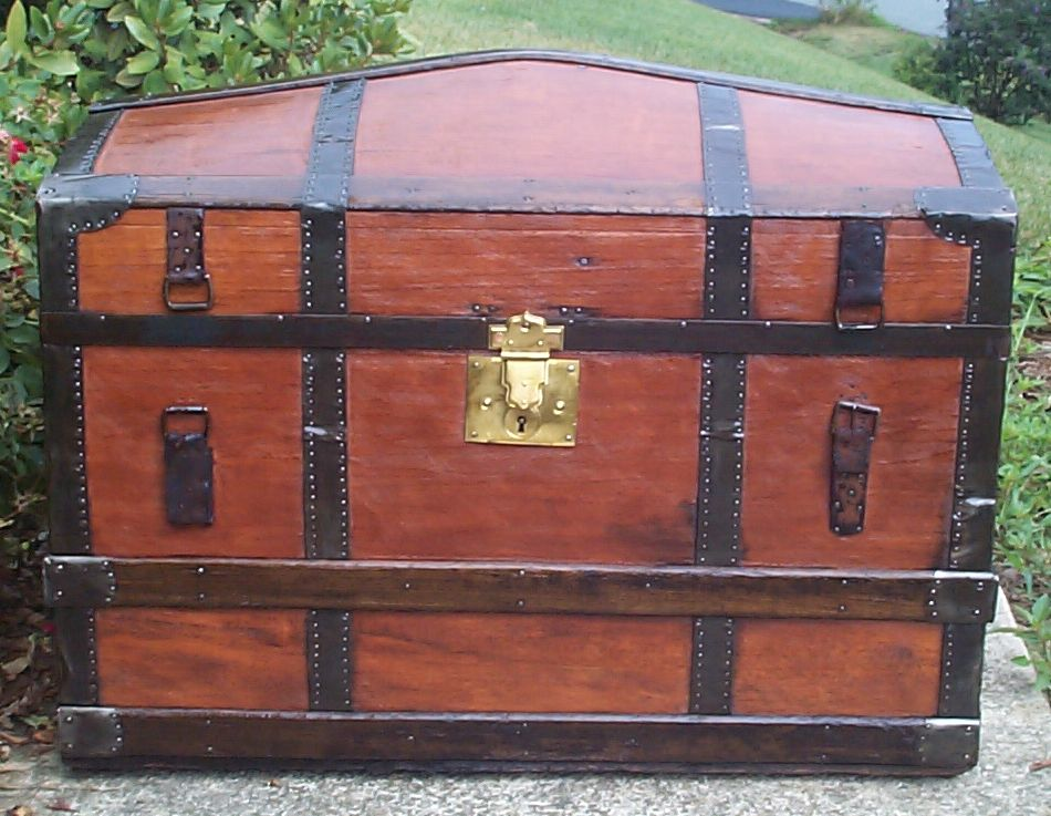 restored all wood dome top antique trunk for sale 787