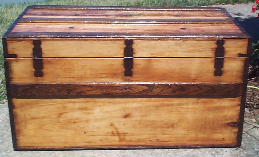 restored wood civil war dual lock flat top antique trunk for sale 788