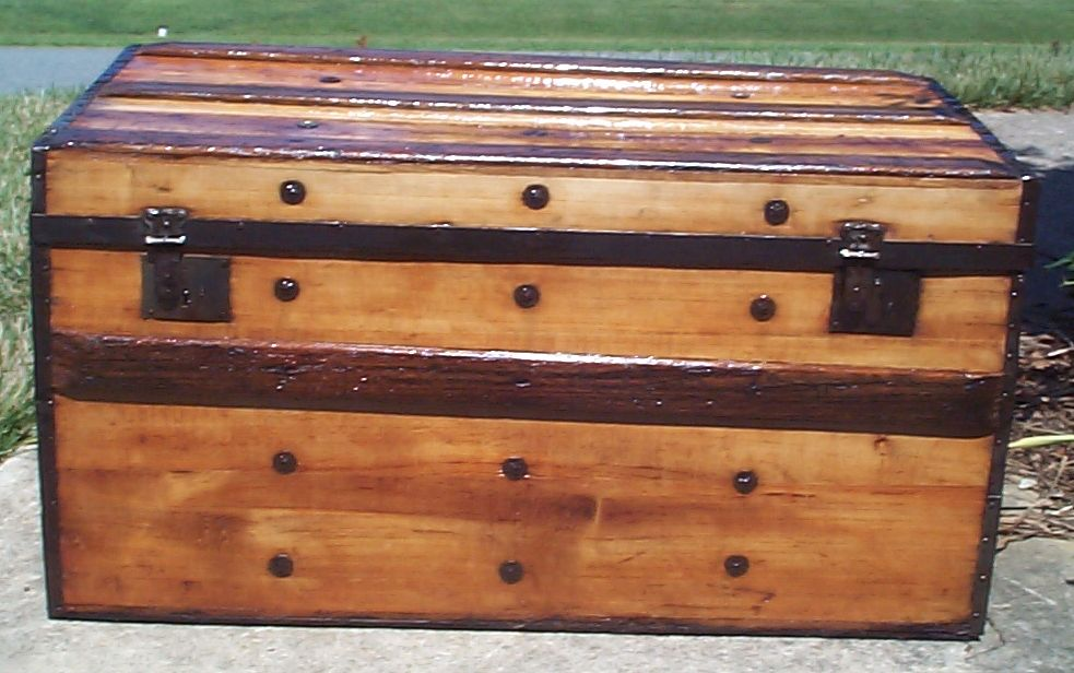 restored all wood civil war dual lock flat top antique trunk for sale 788