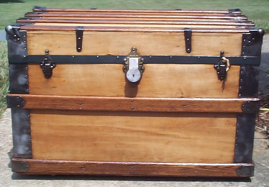 restored all wood flat top antique trunk for sale 789