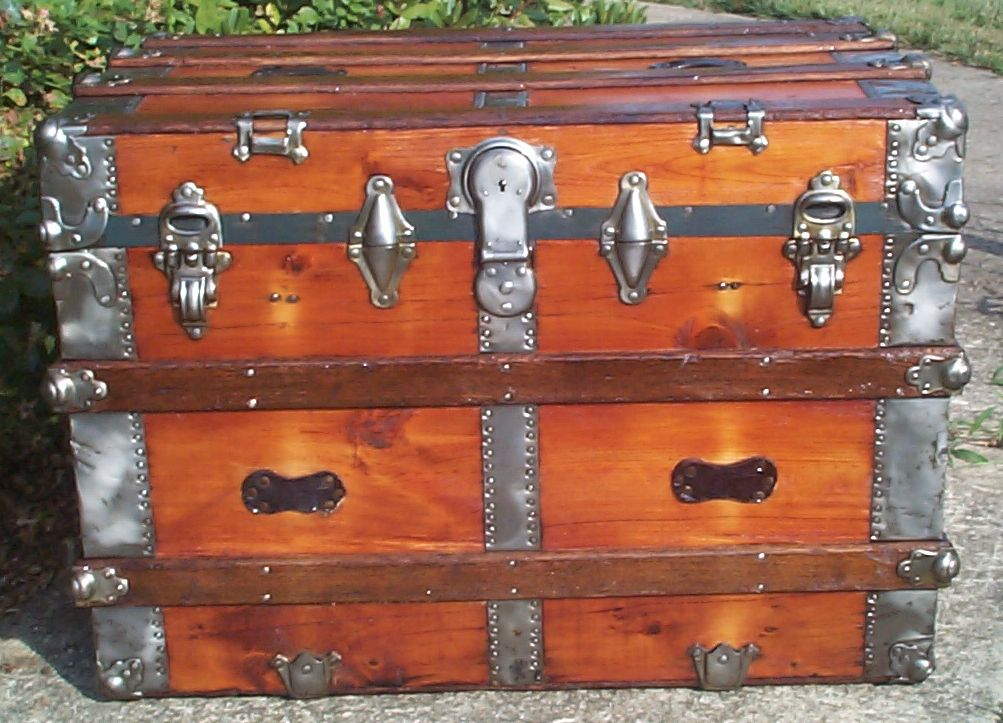 restored all wood flat top antique trunk for sale 790