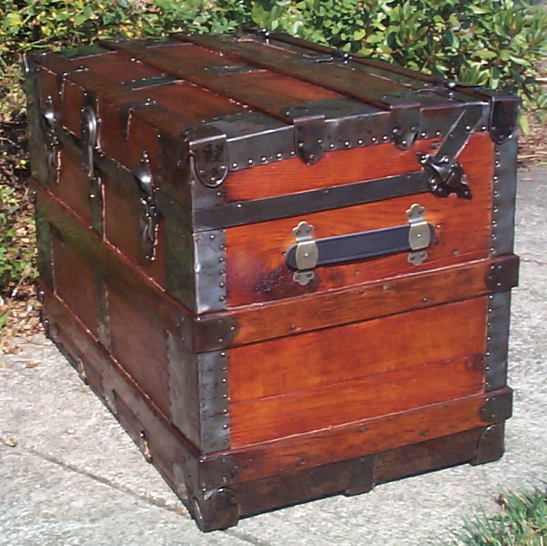 restored all wood flat top antique trunk for sale 791