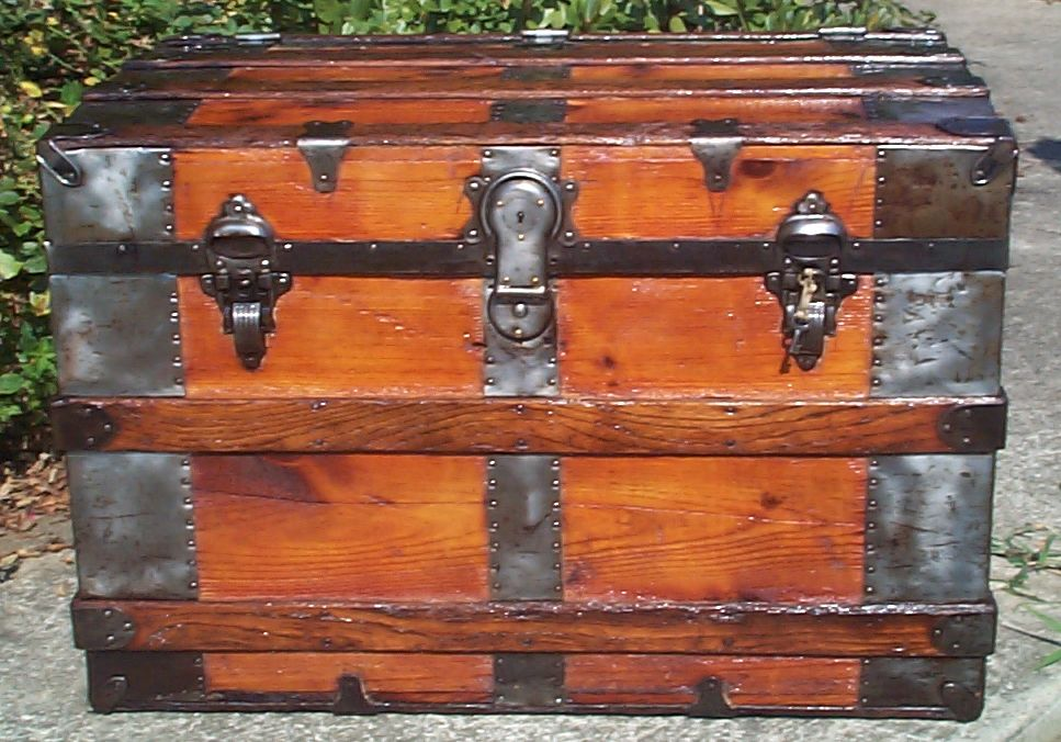 restored wood flat top antique trunk for sale 791