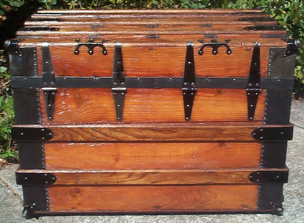 restored wood flat top antique trunk for sale 792