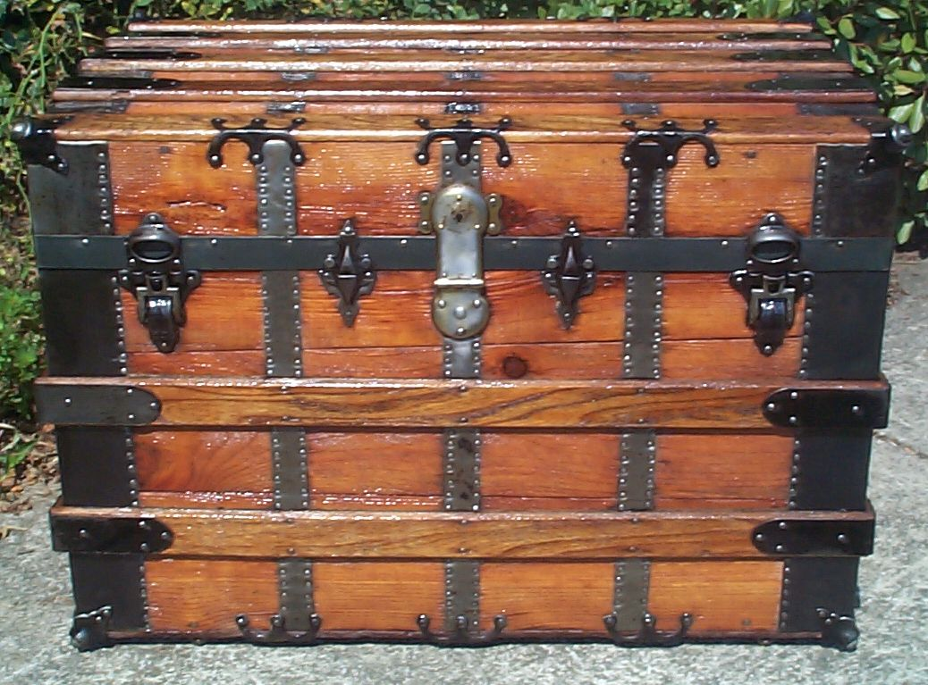 restored all wood flat top antique trunk for sale 792