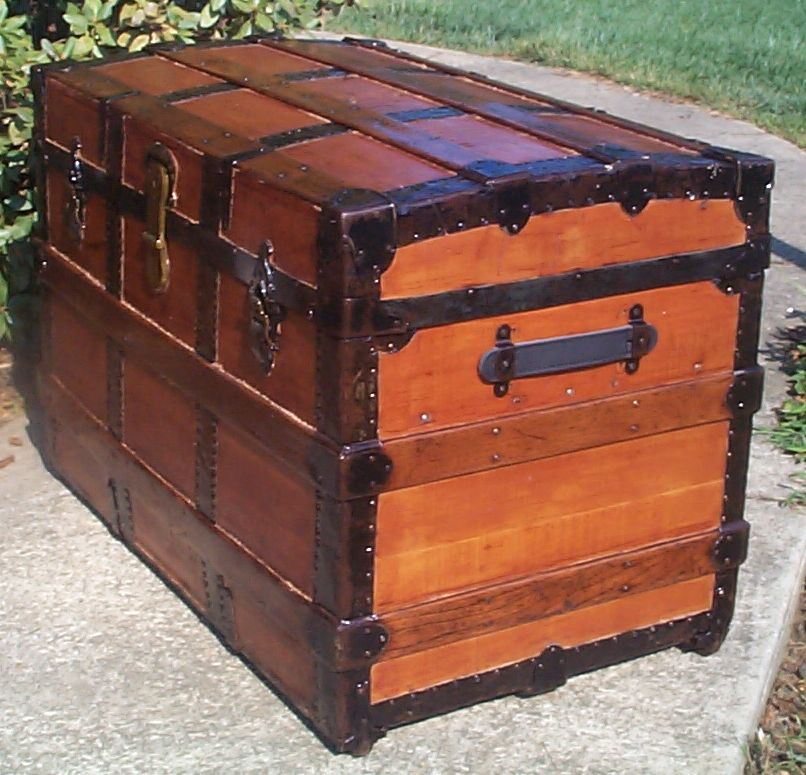 restored all wood roll top antique trunk for sale 793