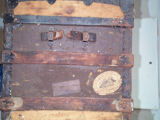restored wood roll top antique trunk for sale 793