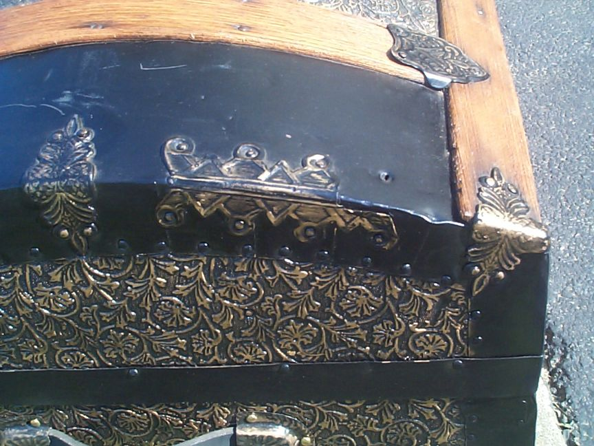 restored all metal and wood top antique trunk for sale 795